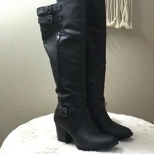 Black Knee High Wide Calf Heeled Boots